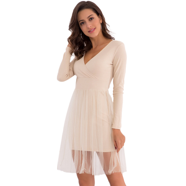 Women Knit Skater Dress Mesh Layer Long Sleeves V Neck High Waist A-Line  Dress Elegant Lady Office Work Wear Party Dress female b9340f9a1