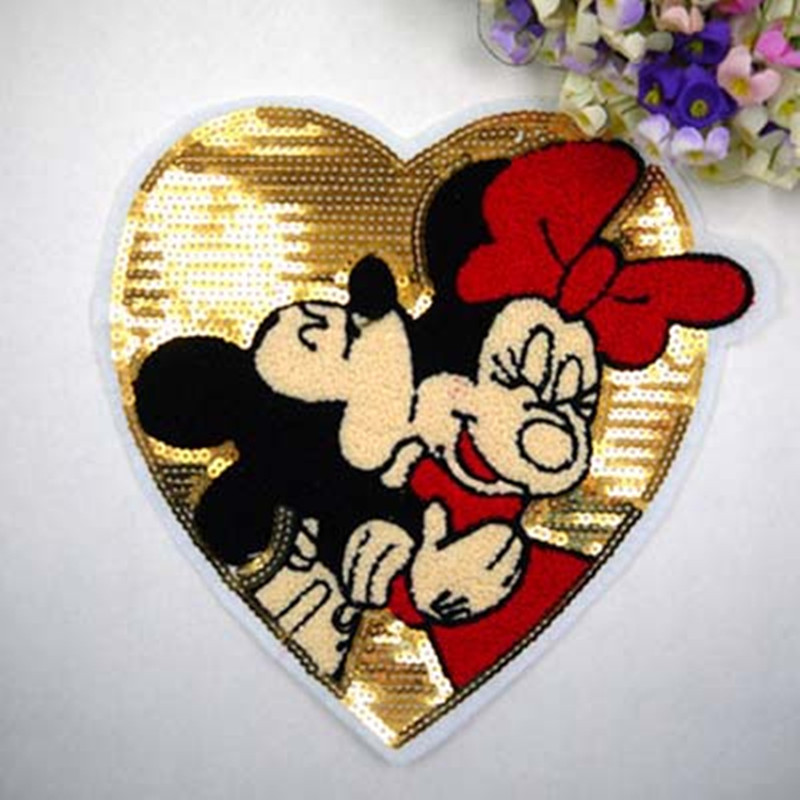 Love mickey Embroidered iron on patches for clothes sequins deal with it clothing DIY Motif Clothes spare parts in Patches from Home Garden