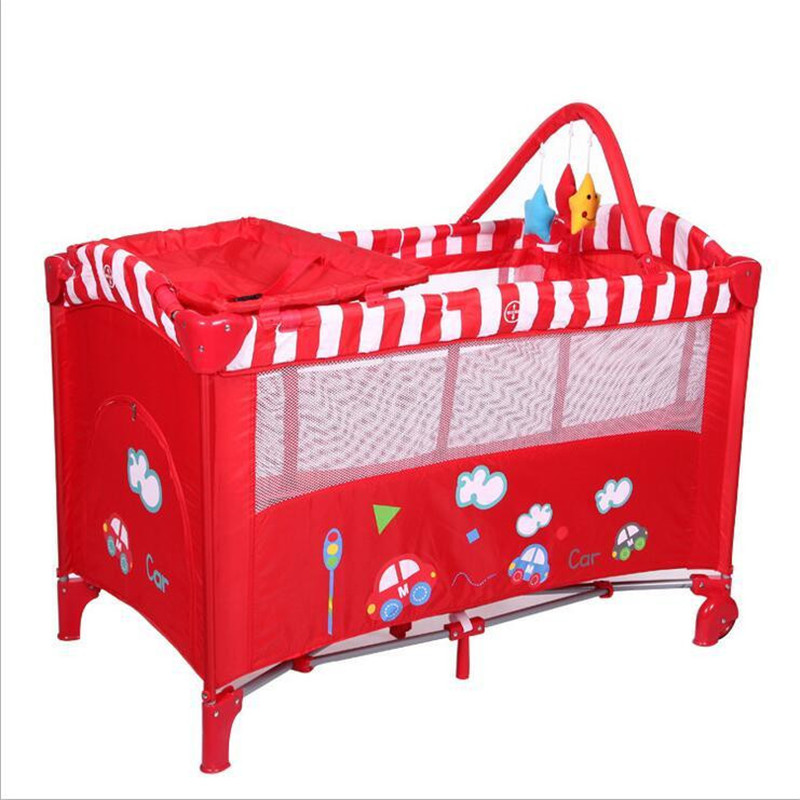 Cartoon Car Red Baby Girl Bed Cribs Diaper Changing Stations Portable Foldable Playpen Crib Child Alloy Double Folding Cot  Toys new style multifunctional infant crib casters mosquito nets cot playpen portable safety folding baby cribs