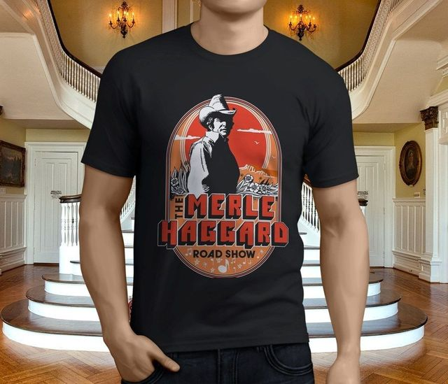 New Merle Haggard Men/'s Black T-Shirt Size S-3XL