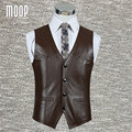 Black brown genuine leather vest 100% lambskin leather jacket men waistcoat business coat chaleco hombre colete LT602 Free ship