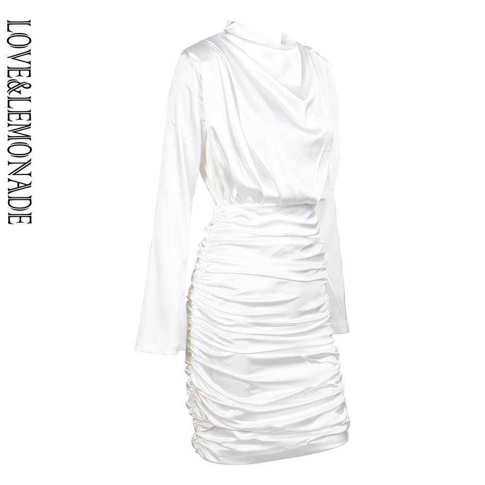 Любовь и лимонада белого цвета с высоким воротником, свободная одежда для верхней части тела плиссированное платье с эластичной резинкой на вискозный, обтягивающий на выход вечерние платье LM81722