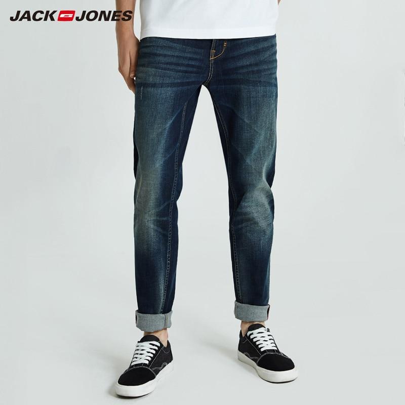 Jack Jones 2019 Men Jeans Long Casual Jeans Pants Cotton Solid Straight Biker Jeans Men Washed Denim Jeans |218332558