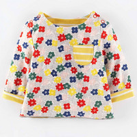 Little maven children brand clothing 2016 autumn fashion girls cotton long sleeve O-neck flowers print pocket t shirt CT053