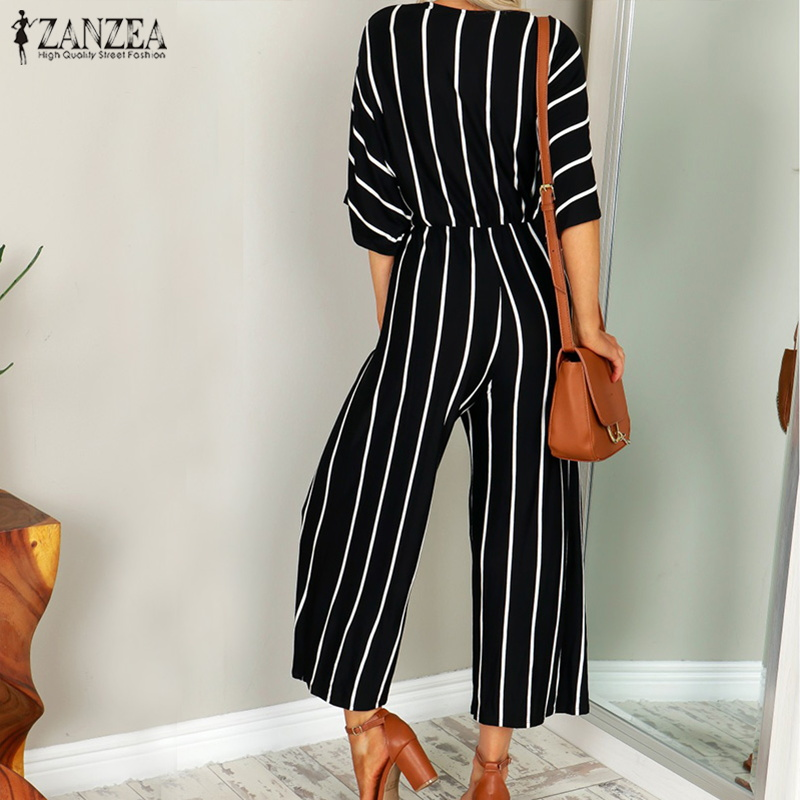 2018 ZANZEA Women Summer Striped Deep V-neck Short Sleeve OL Work Rompers Casual Loose Jumpsuits Party Club Overalls Playsuits