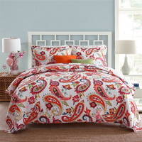 100% Cotton Bedspread Pillow Cases Queen/King Size Soft Bed Cover National Coverlet Set Quilt Summer Comforter Coverlet Set