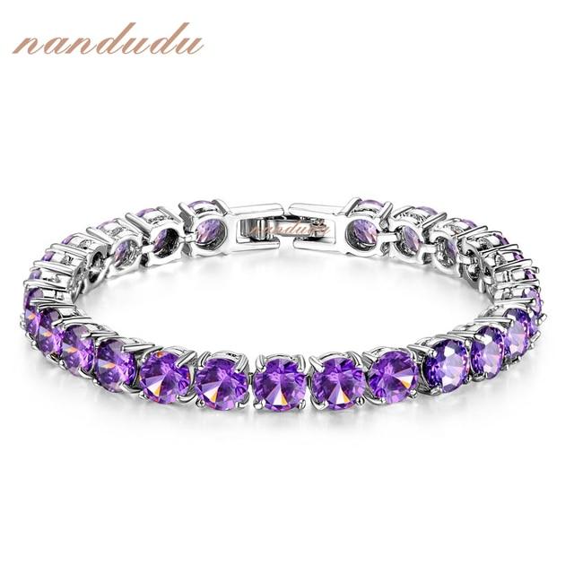 Nandudu Nice Purple Cubic Zirconia Bracelet  Gold Plated Fashion Jewelry Bangle Gift B419