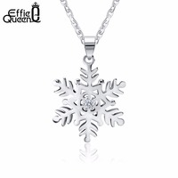 Effie Queen Charm Cute Lady Clear Crystal Snowflake Zircon Flower Silver Necklaces & Pendants Fashion Jewelry for Women BN07
