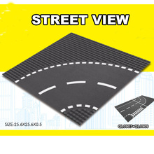 City Road Street Baseplate Straight Crossroad Curve T-junction Building Blocks Parts Bricks Base Plate
