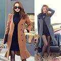 Осень зима пальто женщин Полиэстер Шерсть 3 цвет Корейский длинным рукавом V-образным Вырезом Складки тонкий Пакет хип куртка пальто манто femme