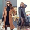 Outono inverno mulheres casaco de Lã De Poliéster 3 cores Coreano manga longa Com Decote Em V Babados magro Pacote hip jaqueta casaco manteau femme