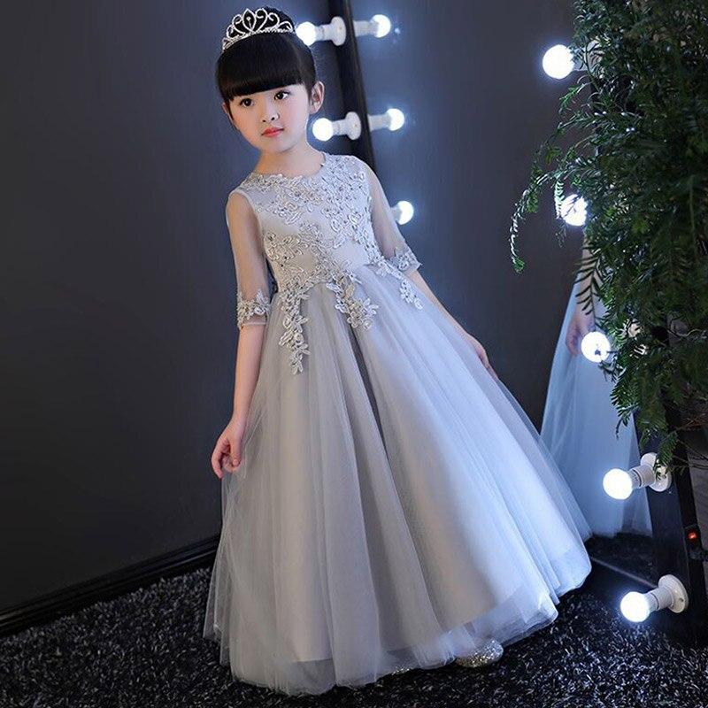 Crianças Roupas de Bebê Menina Crianças vestidos de Noite Vestidos de Festa Para O Casamento De Menina Princesa Roupas 2017 Cor Sólida Arco Moderador Traje