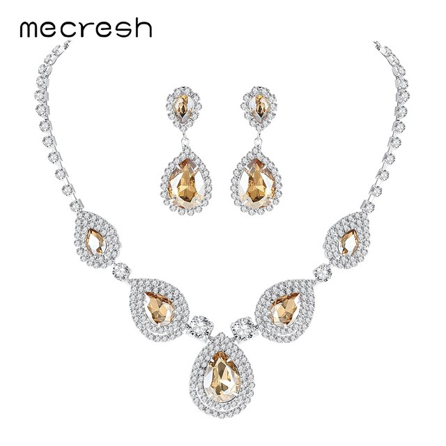 Online shop mecresh silver color teardrop bridal jewelry sets mecresh silver color teardrop bridal jewelry sets crystal wedding necklace earrings sets engagement jewelry accessories mtl506 junglespirit Images