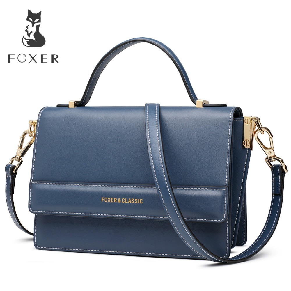 FOXER Brand 2019 New Design Leather shoulder strap Lady Luxury Shoulder Bags Office Women Stylish Crossbody