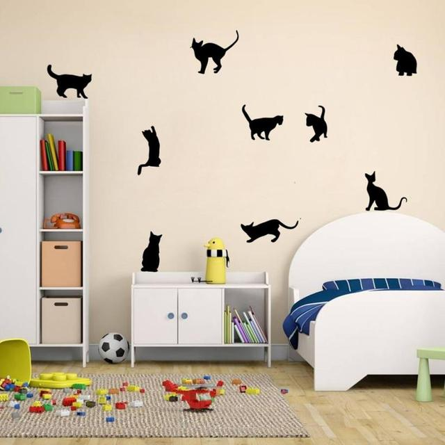 Cats Wall Stickers Art Decals Mural Wallpaper Decor Home Room DIY  Decoration Cat Wallpaper PVC Photo