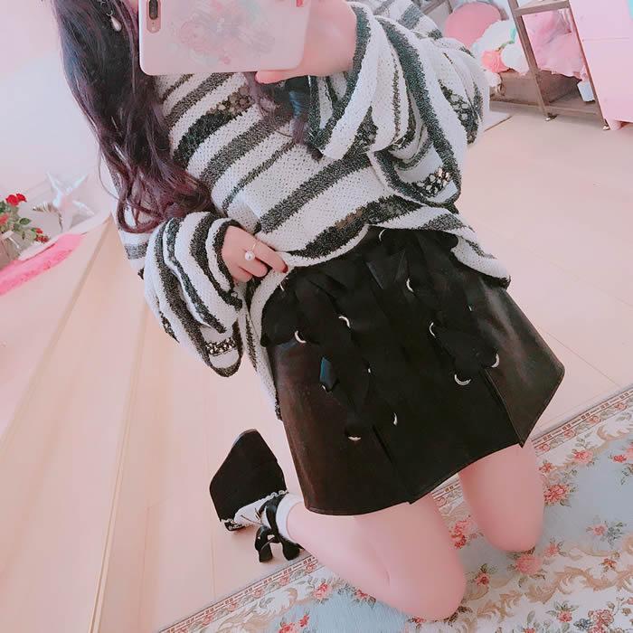 Princess sweet lolita skirt Bobon21 cool honey girl powder black bow tie split leather skirt like