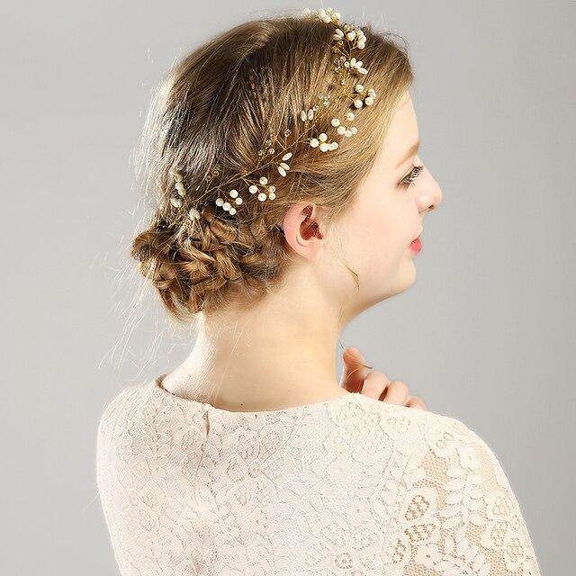 Golo Silver Color Pearl Crystal Headband Wedding Hair Accessories Bridal Hair Vine tiara Headpiece Diamante Hair Jewelry FD169