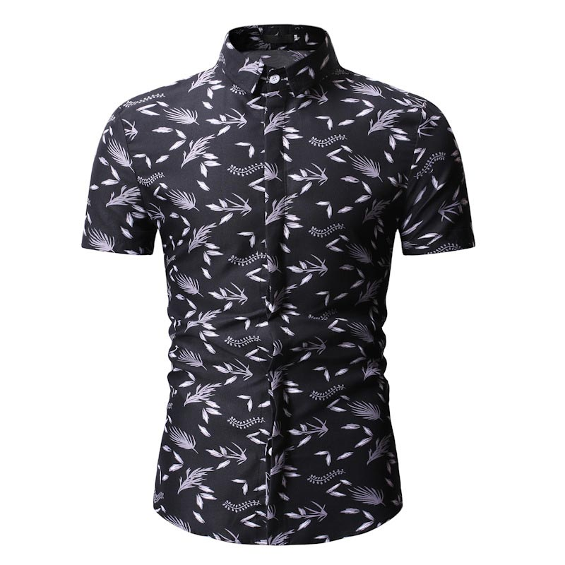 Summer New Men's European Code Hawaiian Wind Slim Lapel Casual Floral Short-sleeved Shirt Male Polo Shirt Floral Polos