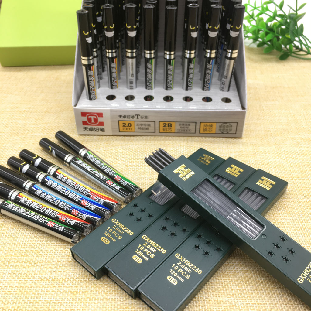 2mm Automatic Pencil Lead Black Core 2b Hb Lead Resin Core School-supplies Mechanical Pencil Refills School Supplies