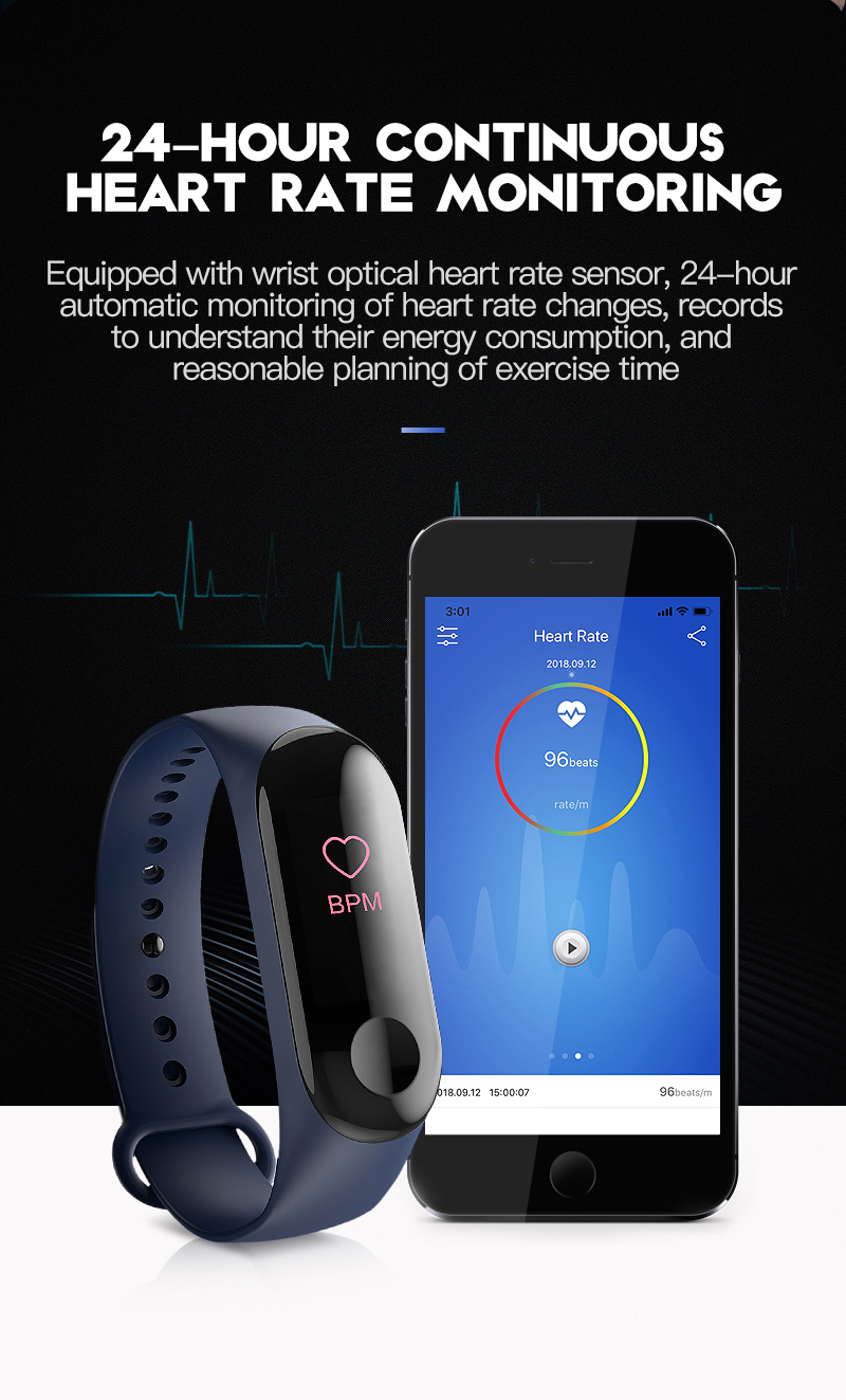 Hot M3C Smart Bracelet Color Screen Fitness Tracker Smart Watch Men Android  Heart Rate Monitor Women Smart Band