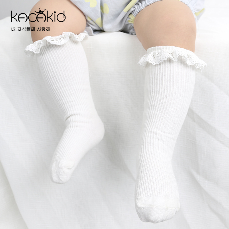0-4 T Baby Meisjes Sokken Strepen Kant Katoen Highs Sokken Infant Peuters Baby Beenwarmers Kids Meisjes Jurk Accessoires