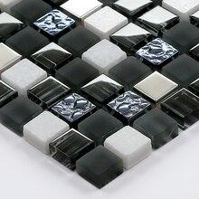 2016 Nuevo cristal esmerilado blanco mármol piedra Metal mosaico azulejo cocina backsplash baño ducha Metro Showroom pared azulejo