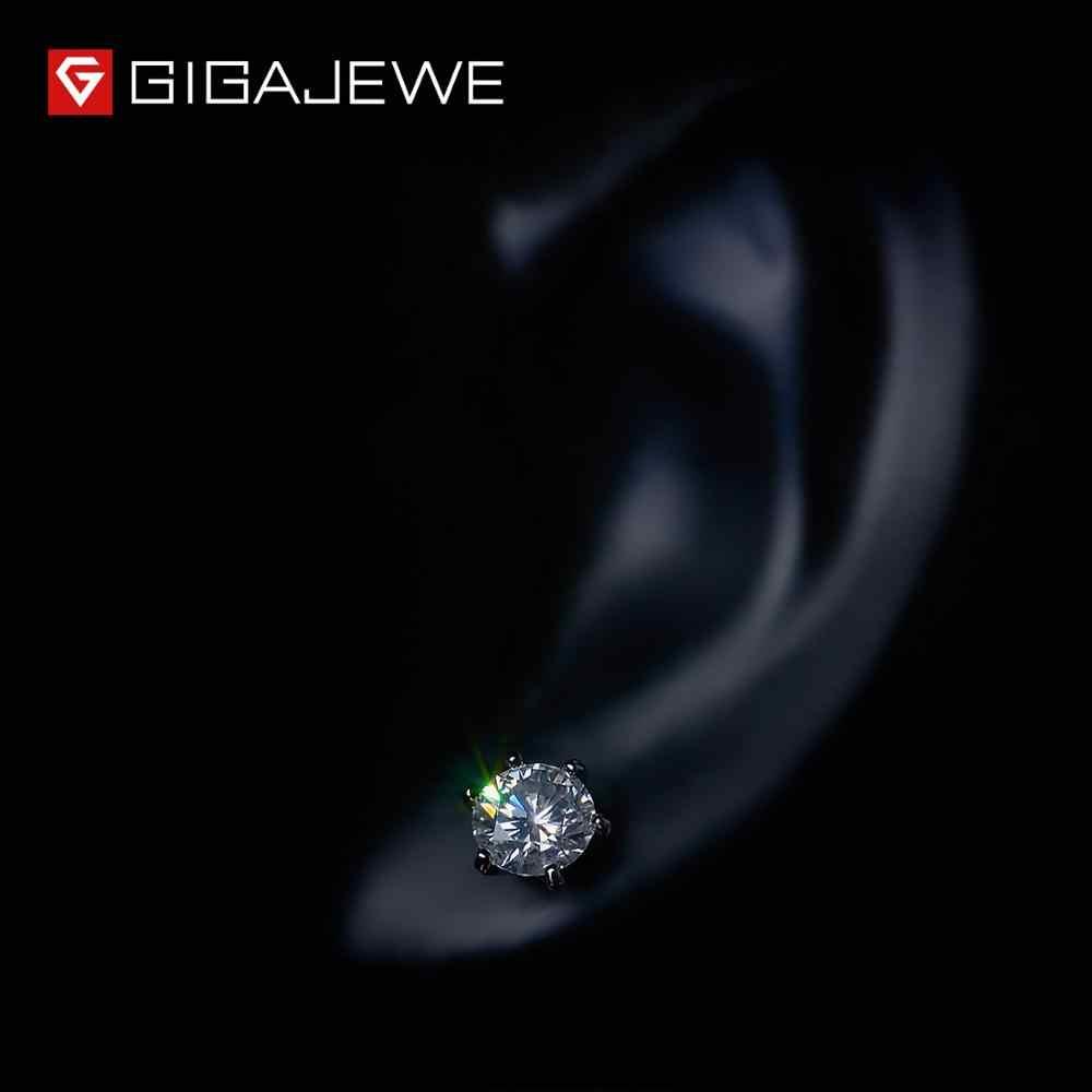 GIGAJEWE EF VVS1 yuvarlak kesim toplam 2.0ct elmas testi geçti Moissanite 18K altın kaplama 925 gümüş küpe takı kız arkadaşı hediye