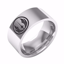Jedi Symbol Polished Stainless Steel Ring For Men