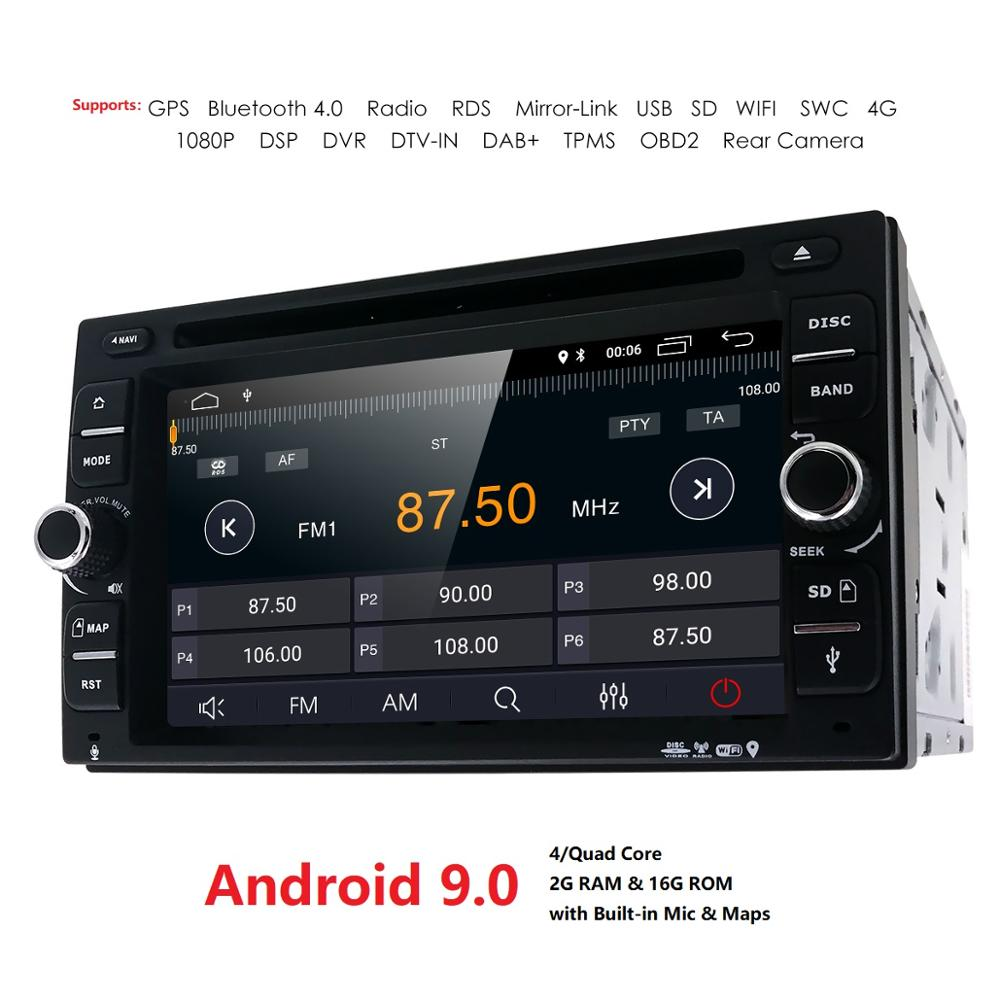 2G RAM Quad Core 2 Din Android 9.0 WIFI New Universal Car Radio Double Car DVD Player GPS Navigation In Dash Car PC Stereo Video