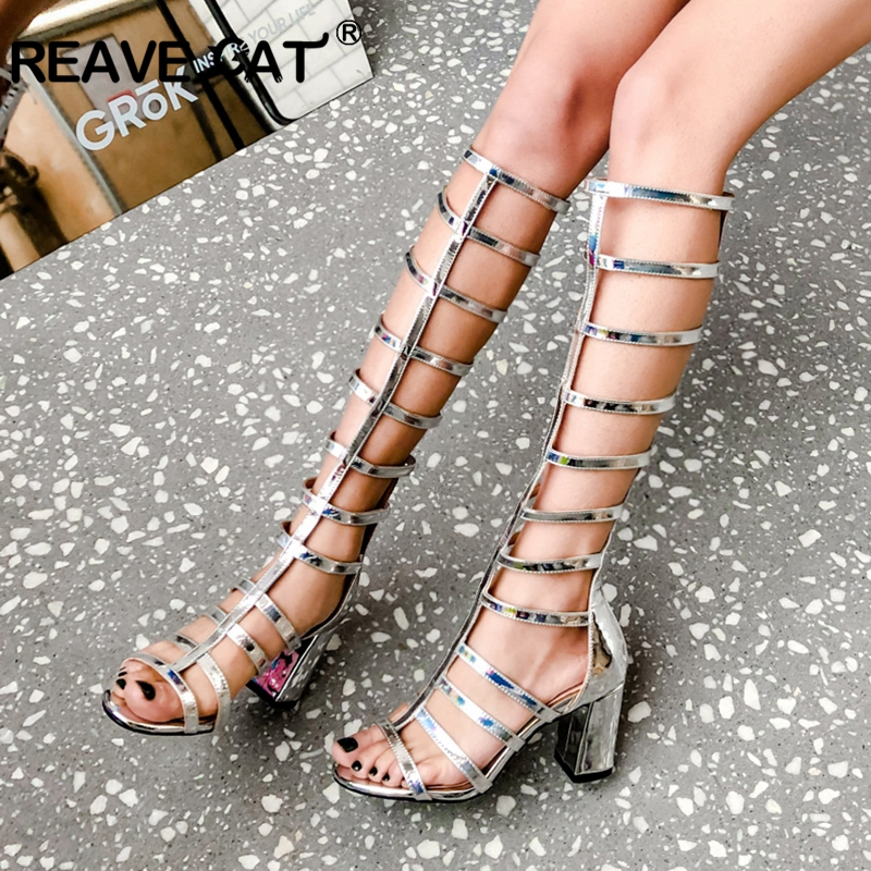 REAVE CAT Women s knee boots Summer boots High heels Square heel Stripe Pink Silver Female
