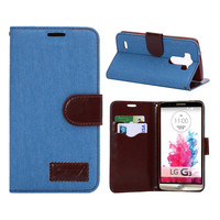 Fashion denim jeans Canvas Leather capinha para Cover For LG G3 D850 case wallet business Flip stand design with Card Holder