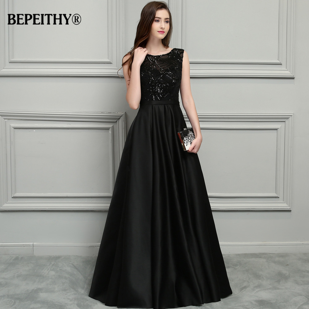 BEPEITHY Sexy Backless Black Long Evening Dress 2019 Vestido De Festa New Bridal Satin Prom Dresses With Belt Hot Sale
