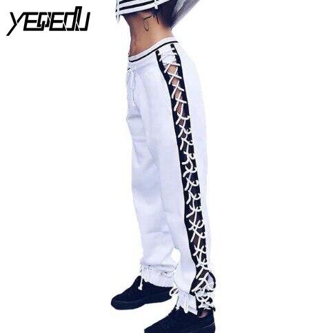 #0740 Drawstring Hip hop pants women Loose 2017 side bandage trousers women Sweatpants Joggers women Pantalon femme Streetwear