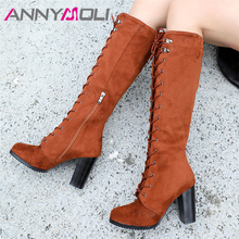 ANNYMOLI Autumn Long Boots Women Zipper Chunky Heel Knee High Boots Lace Up Extreme High Heel Shoes Female Winter Big Size 34-43