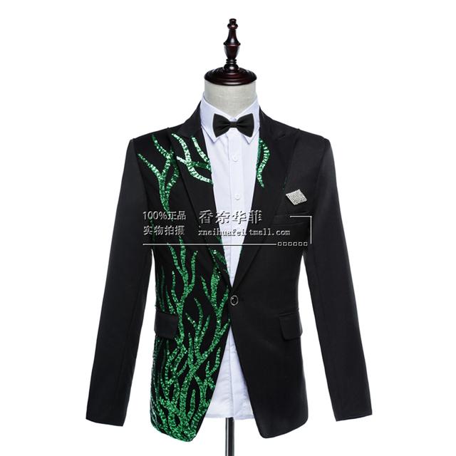 2016 estrellas impresión blazer jacket otoño invierno de los hombres de moda popular personalidad de Corea Del cultivo de fiesta tendencia prendas de vestir exteriores única