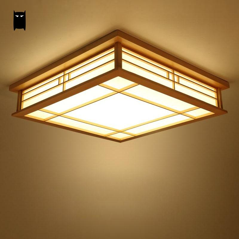 LED Wood Square Tatami Ceiling Light Fixture Japanese Korean Style Plafon Plafonier Lamp for Foyer Balcony Bedroom Living Room japanese indoor lighting led ceiling light lamp square 45 55cm tatami decor led lamp wood paper restaurant living room hallway