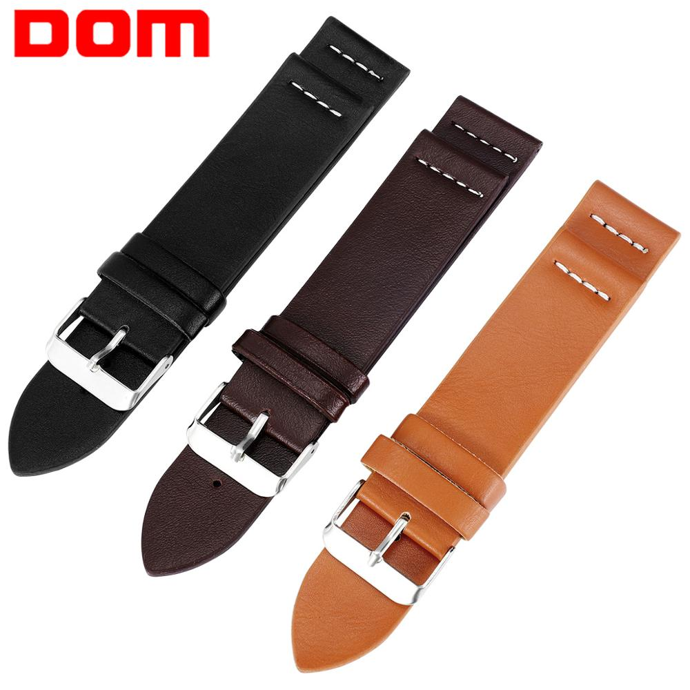 DOM 3 Colors Hot Sell Leather Watchband 18mm 20mm  22mm Watch Accessories High Quality Men Strap Wrist Belt Bracelet Watchband