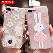Relief Silicone Case For iPhone 7 7Plus Cartoon Bird Soft TPU Case For iPhone 6 6S 6Plus 6SPlus 5 5S SE Cases Rabbit Back Cover