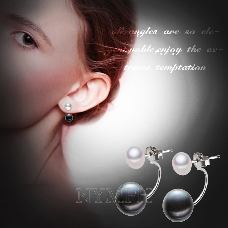 NYMPH Natural Pearl Stud Earrings Jewelry S925 Sterling Silver Genuine White Black Double Pearl Earrings Party [E205]