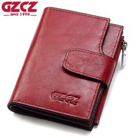 GZCZ Genuine Leather Women Wallet Female Zipper Coin Purse Luxury Brand Small Walet Card Holder Clamp