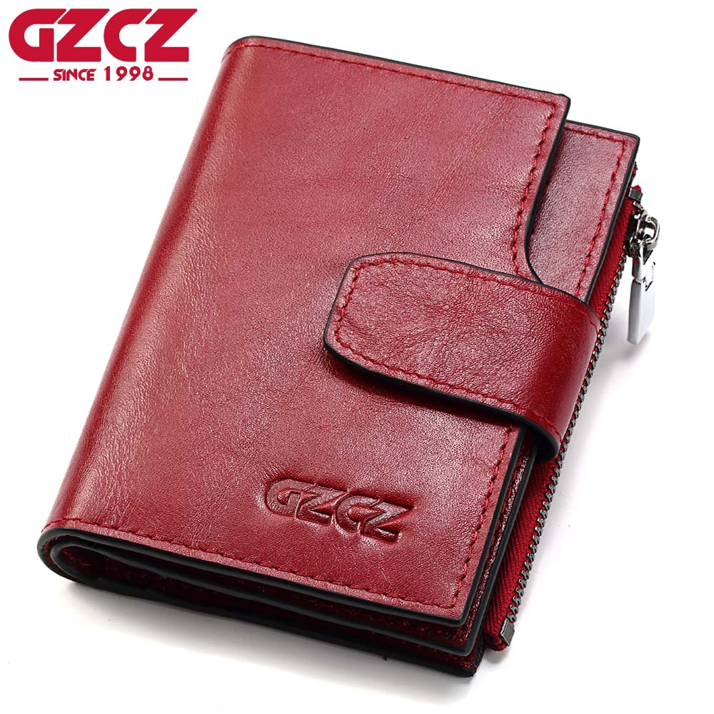 GZCZ Genuine Leather Women Wallet Female Zipper Coin Purse Luxury Brand Small Walet Card Holder Clamp For Money Bag Portomonee