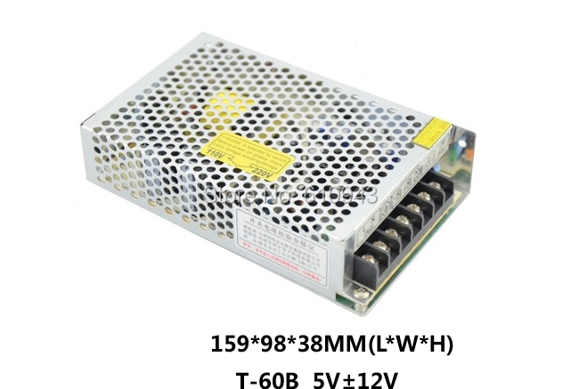 T-60B Free Shipping60W MINI triple Output Switching power supply Output Voltage 5V -12V 12V AC-DC T-60B