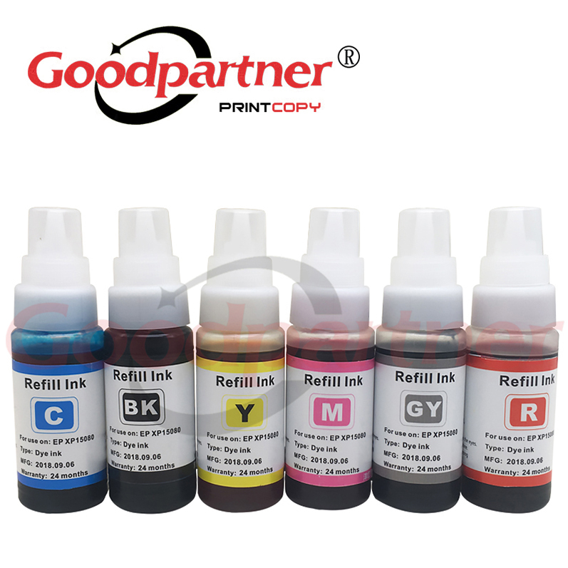 1X For Epson XP 15080 15010 15000 CISS Refill Dye Ink Bottle 01U Black Yellow Cyan Magenta Red Grey A3