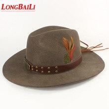 Зимние качественные мужские шерстяные фетровые ковбойские шапки с кожаным ремешком Chapeu Masculino PWSX001