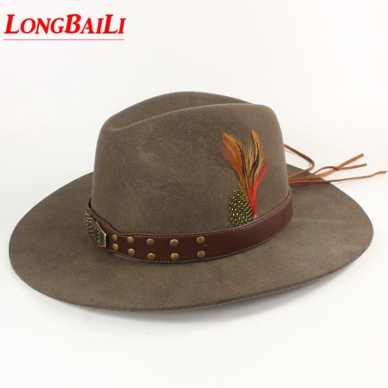 Hiver Qualité Plume Hommes Feutre De Laine Chapeaux de Cowboy Avec Bande de Cuir Chapeu Masculino Livraison Gratuite PWSX001