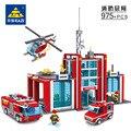 Супер Большой Пожарная Станция 774 Шт. Строительные Блоки Вертолет Развивающие Игрушки Кирпичи Блоки Совместимость с лепин