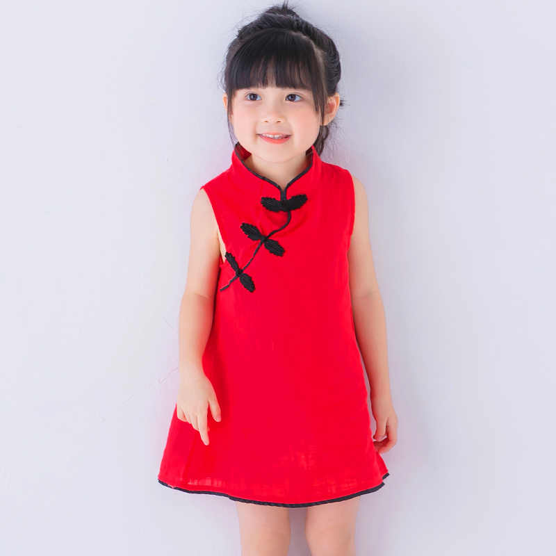 8e197228d75 Tang suit cheongsam girls dress for 3-7 years old baby clothes dresses kids  2018