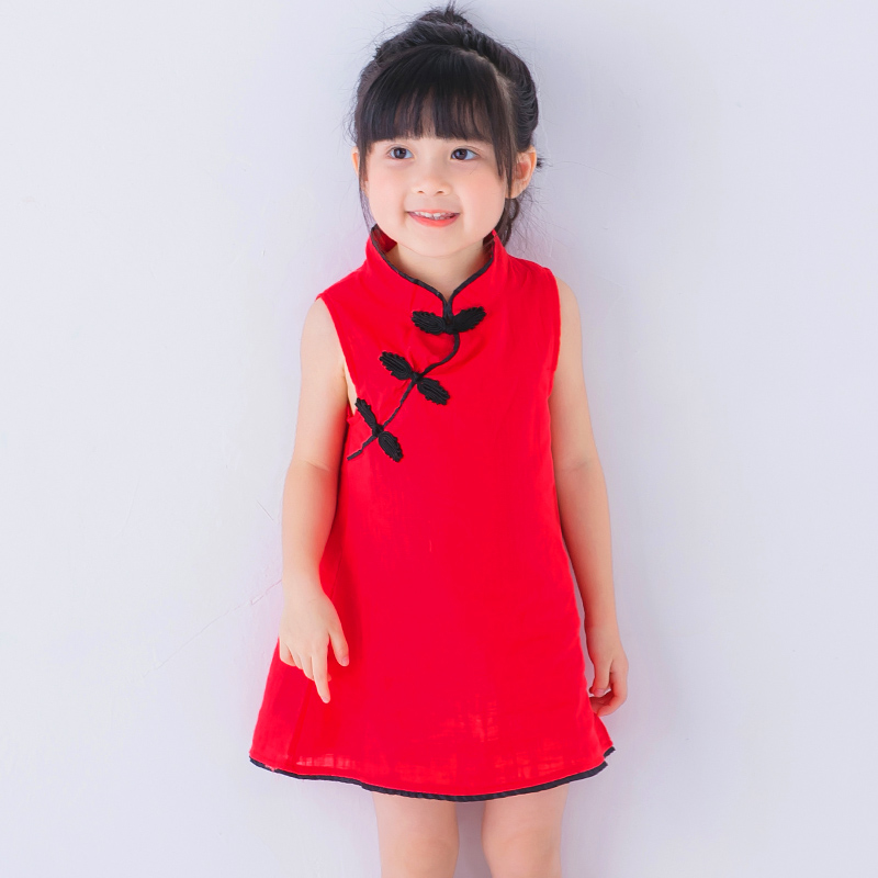 Tang suit Girls dress cheongsam princess baby clothes cotton 2017 summer classic style for 3-7 years old cheap and free delivery Куртка