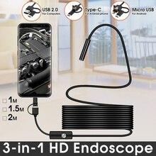 Boroscópio câmera endoscópio flexível, câmera boroscópio 2m 1m 5.5mm 7mm lente mircrousb tipo c mac smartphone, android, pc