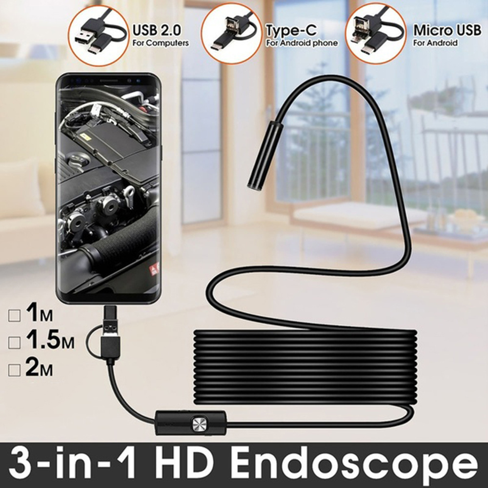 Boroscope Camera 2m 1m Flexible Snake Endoscope Camera  Boroscope 5.5mm 7mm Lens MircroUSB TYPE C For Smartphone Android PC MAC